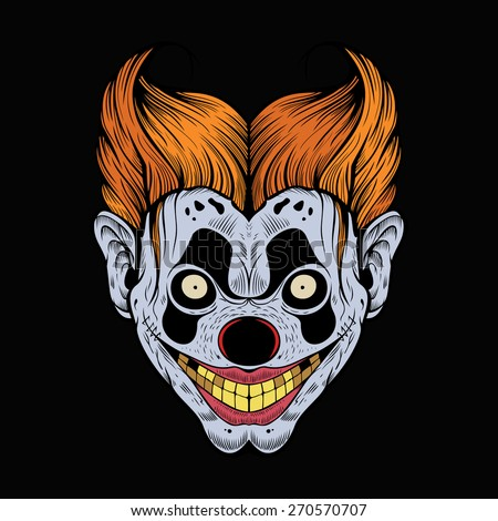 Illustration of scary red clown with yellow teeth. - stock vector