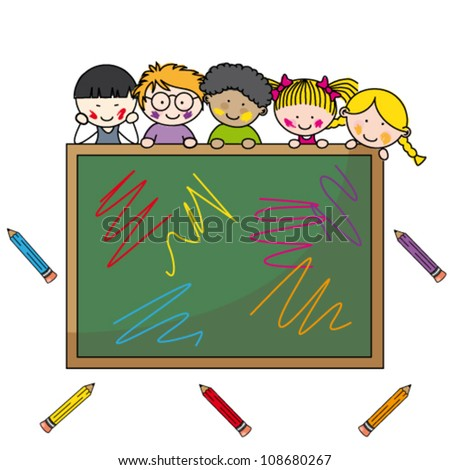 illustration of school boys with chalkboard and education item - stock vector