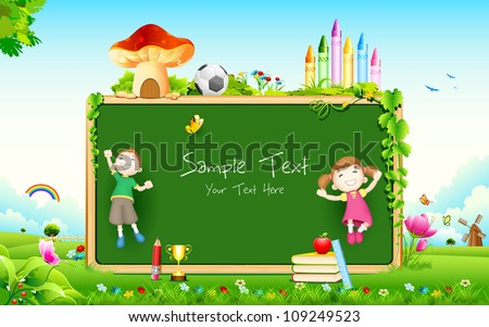 illustration of school kid playing in front of blank board - stock vector