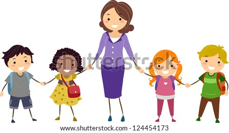 Illustration of School Kids and Their Teacher Holding Hands - stock vector