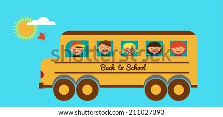 Illustration of School Kids Riding a Schoolbus  - stock vector