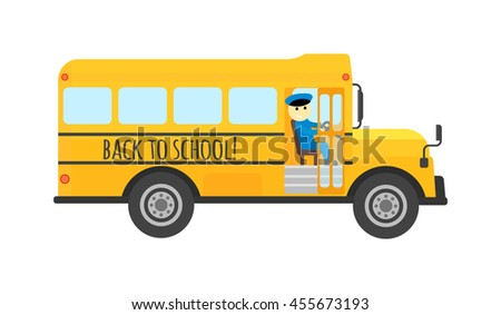 Illustration of school kids riding yellow schoolbus transportation education. Student child isolated school bus safety stop drive vector. Travel automobile school bus public trip childhood truck. - stock vector