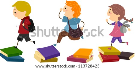 Illustration of School Kids Using Piles of Books as Stepping Stones - stock vector