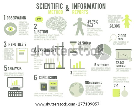 Illustration of scientific method and information report - stock vector