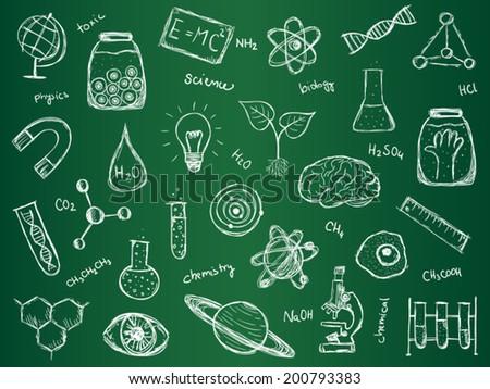 Illustration of scientific stuff on green school board. Hand drawn style. - stock vector