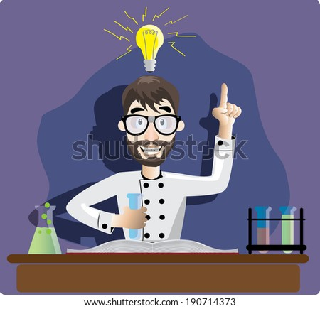 illustration of scientist in the laboratory   - stock vector