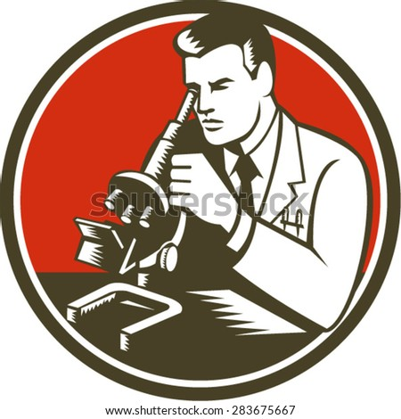 Illustration of scientist laboratory researcher chemist looking at microscope set inside circle done in retro style.  - stock vector
