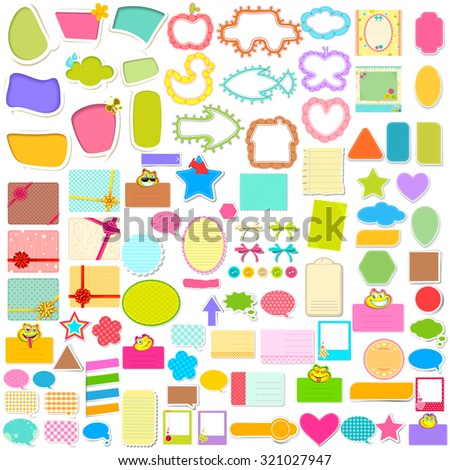 illustration of Scrapbook element and chat bubble jumbo collection - stock vector