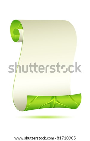 illustration of scroll letter in leafy form on abstract background - stock vector