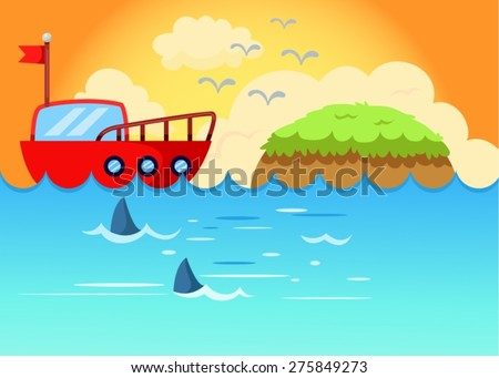 illustration of sea scape  sailing boat with sunset - stock vector