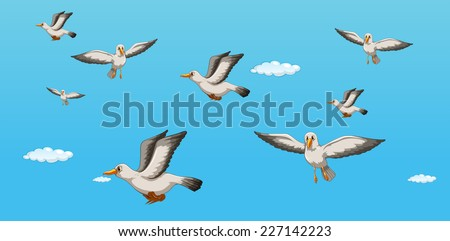 illustration of seagulls flying in the sky - stock vector