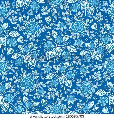 Illustration of seamless  floral pattern with roses and leaves in blue and white colors - stock vector