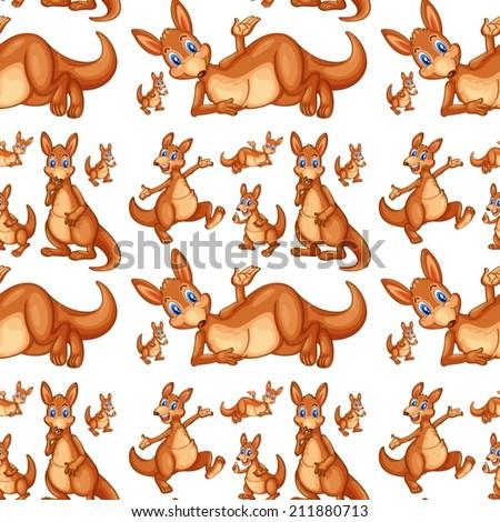 Illustration of seamless kangaroo - stock vector