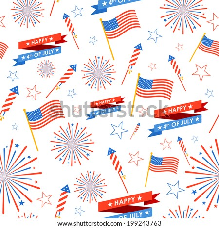 illustration of seamless pattern for 4th of July - stock vector