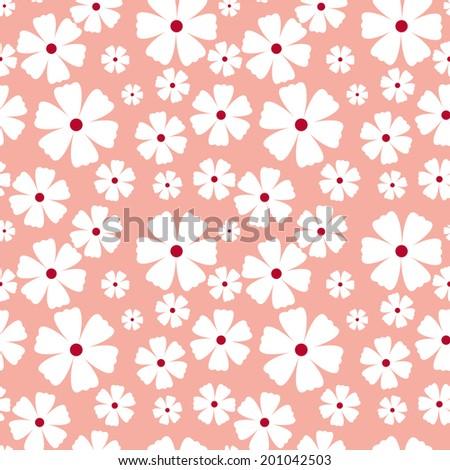 Illustration of seamless pattern of white flowers - stock vector