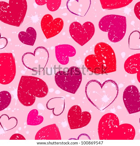 Illustration of seamless with abstract grunge hearts - stock vector