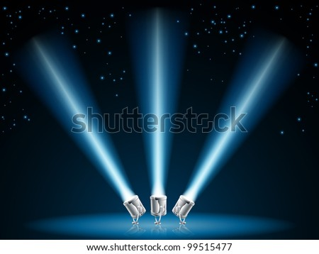 Illustration of search lights or spot lights pointing into dark sky with stars - stock vector