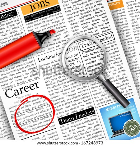 illustration of searching job in newspaper with magnifying glass - stock vector