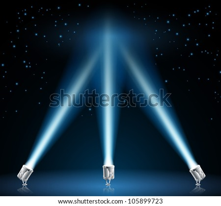 Illustration of searchlights or spotlights pointing into the night sky - stock vector