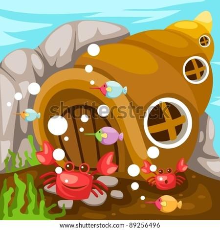 illustration of seascape life underwater on white background - stock vector