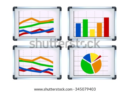 illustration of set flipcharts with some graph on it on white background - stock vector