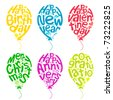 illustration of set of balloon for different occasion on isolated white background - stock vector