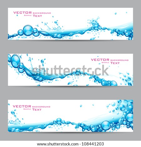 illustration of set of banner with water splash - stock vector