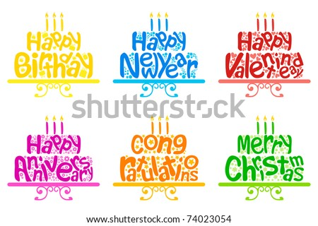 illustration of set of cake for different occasion on isolated white background - stock vector