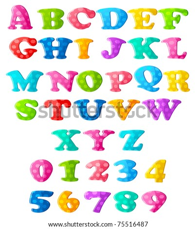 illustration of set of colorful alphabets and numbers on isolated background - stock vector