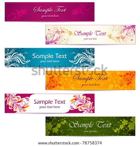 illustration of set of colorful floral banner - stock vector