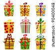 illustration of set of colorful gift boxes on isolated white background - stock vector