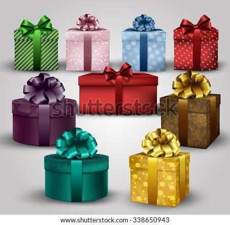 Illustration of set of colorful gift boxes with bows and ribbons background vector - stock vector