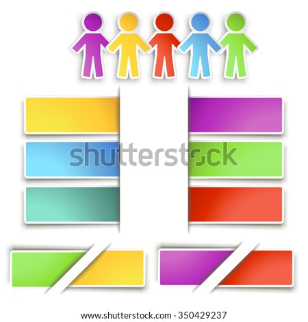illustration of set of different color and type of paper lists with shadows - stock vector