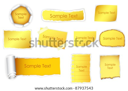 illustration of set of different form of paper - stock vector
