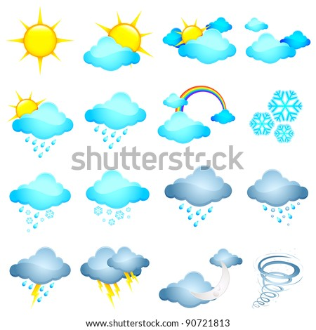 illustration of set of different weather icon in halftone style - stock vector