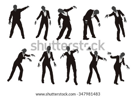 illustration of set of different zombie silhouettes isolated - stock vector