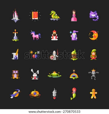 Illustration of set of fairy tales flat design magic vector icons and elements - stock vector