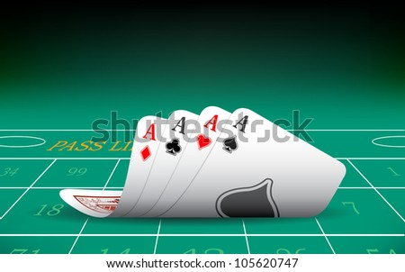 illustration of set of four aces playing card on casino table - stock vector