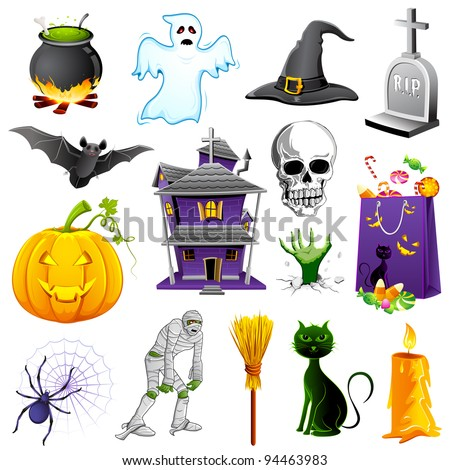 illustration of set of halloween element with pumpkin,ghost and bat - stock vector
