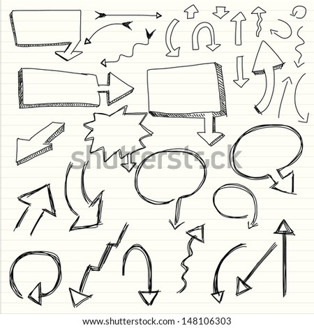 illustration of set of hand drawn sketch of arrow - stock vector