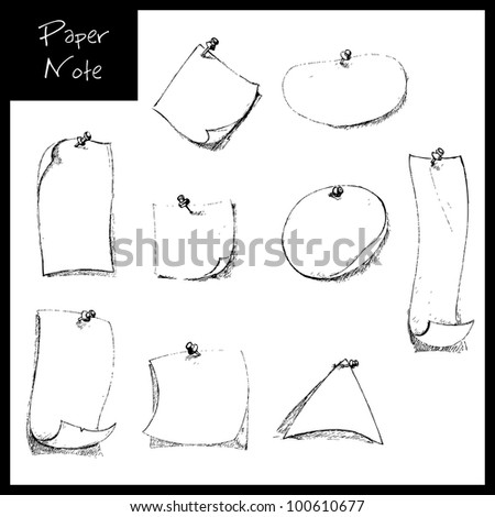 illustration of set of hand drawn sketch of note paper with push pin - stock vector
