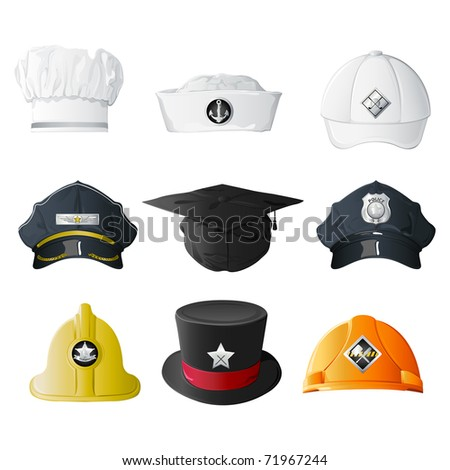 illustration of set of hat from different professions on isolated background - stock vector
