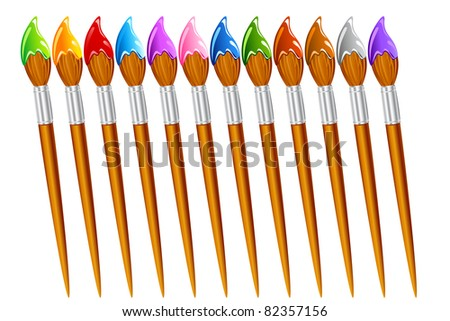 illustration of set of paint brush with different color - stock vector