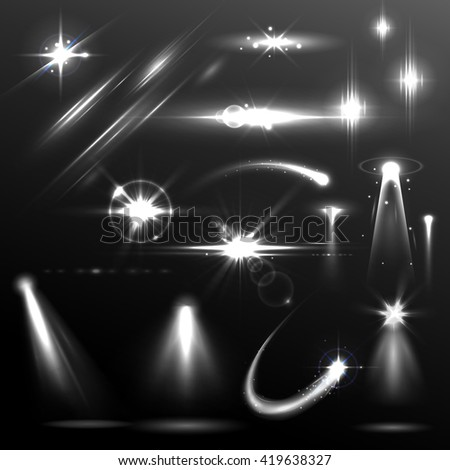 illustration of set of realistic Lens Flare and Light Effect element - stock vector