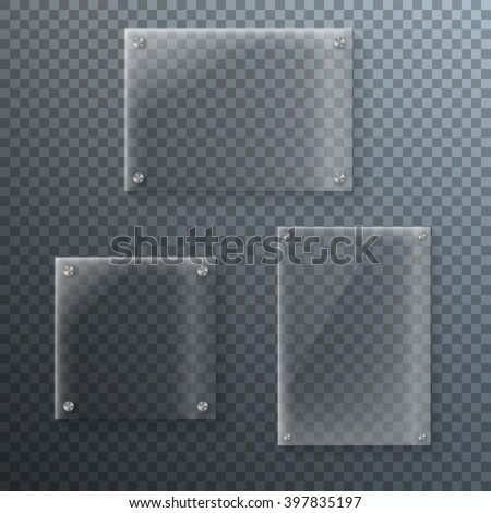 Illustration of Set of Realistic Vector Glass Frame Template. EPS10 Vector Plastic Plate Set Isolated on Transparent PS Style Background - stock vector
