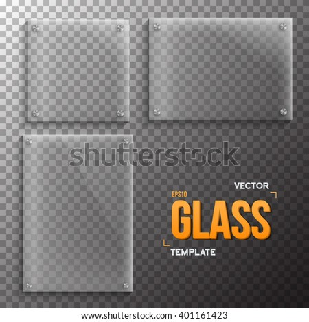 Illustration of Set of Realistic Vector Glass Frame Template. EPS10 Vector Plastic Plate Set Isolated on Transparent Style Background - stock vector