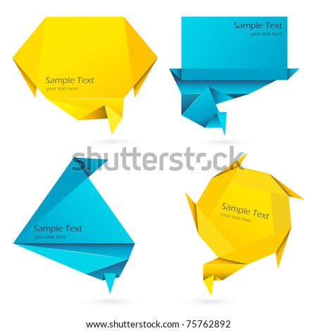 illustration of set of speech bubble in origami style - stock vector