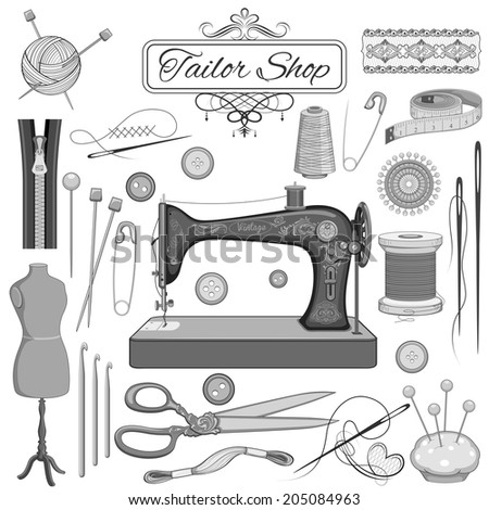 illustration of set of vintage sewing and tailor object - stock vector