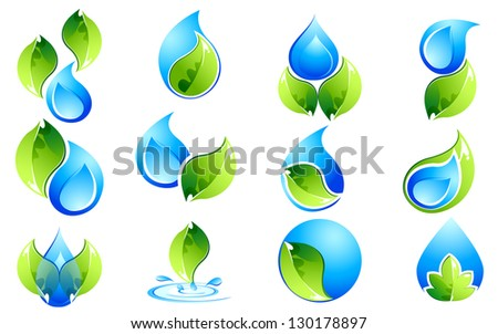 Illustration of set of water and leaves icon on isolated background - stock vector