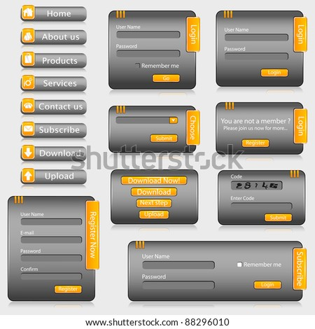 illustration of set of web templates with login,registration and sign up forms - stock vector